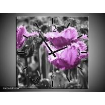 Wandklok op Canvas Tulpen | Kleur: Paars, Wit, Grijs | F002801C