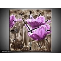 Wandklok op Canvas Tulpen   Kleur: Paars, Bruin, Grijs   F002802C