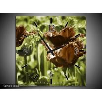 Wandklok op Canvas Tulpen | Kleur: Groen, Bruin | F002803C