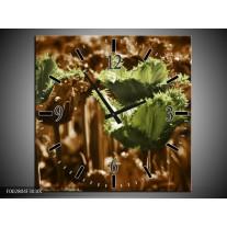 Wandklok op Canvas Tulpen | Kleur: Groen, Bruin | F002804C