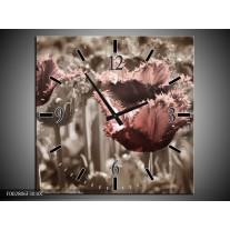 Wandklok op Canvas Tulpen | Kleur: Groen, Bruin | F002806C