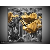 Wandklok op Canvas Tulpen | Kleur: Geel, Zwart | F002810C
