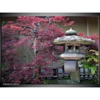 Glas schilderij China | Roze, Grijs, Groen