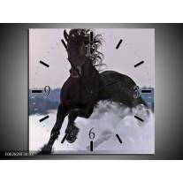 Wandklok op Canvas Paard | Kleur: Wit, Zwart, Grijs | F002828C