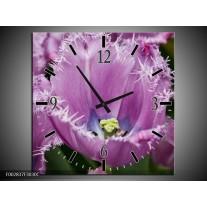 Wandklok op Canvas Tulpen | Kleur: Paars, Wit, Groen | F002837C