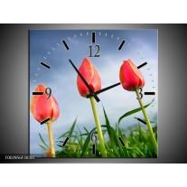 Wandklok op Canvas Tulpen | Kleur: Rood, Blauw, Groen | F002856C