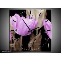 Wandklok op Canvas Tulpen | Kleur: Paars, Grijs | F002862C