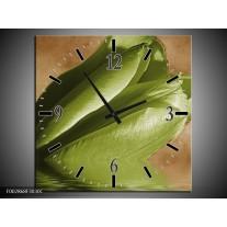 Wandklok op Canvas Tulpen | Kleur: Groen, Bruin | F002868C