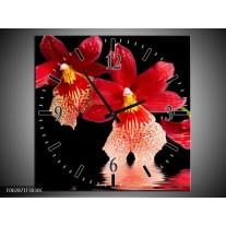 Wandklok op Canvas Orchidee | Kleur: Rood, Zwart, Wit | F002871C