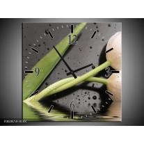 Wandklok op Canvas Tulpen   Kleur: Wit, Groen, Grijs   F002873C