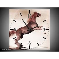 Wandklok op Canvas Paard | Kleur: Sepia, Bruin | F002874C