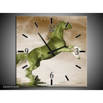 Wandklok op Canvas Paard | Kleur: Groen, Sepia, Bruin | F002879C