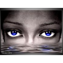 Glas schilderij Ogen | Blauw, Grijs, Zwart