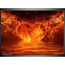 Foto canvas schilderij Hart | Oranje, Bruin, Geel