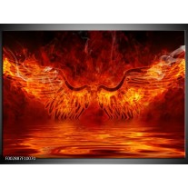 Glas schilderij Engel | Oranje, Bruin, Zwart