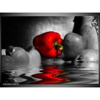 Glas schilderij Paprika   Rood, Grijs, Zwart