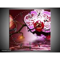 Wandklok op Canvas Orchidee | Kleur: Paars, Roze, Rood | F002899C
