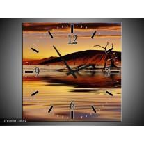 Wandklok op Canvas Natuur | Kleur: Bruin, Geel, Grijs | F002901C