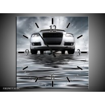 Wandklok op Canvas Auto | Kleur: Grijs, Zwart, Wit | F002907C