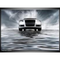 Glas schilderij Auto | Grijs, Zwart, Wit