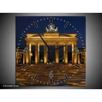 Wandklok op Canvas Berlijn | Kleur: Geel, Bruin, Zwart | F002908C