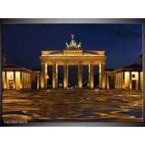 Glas schilderij Berlijn | Geel, Bruin, Zwart