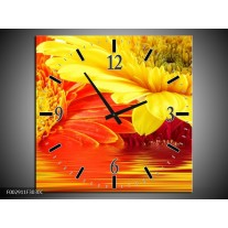Wandklok op Canvas Gerbera | Kleur: Geel, Oranje | F002911C