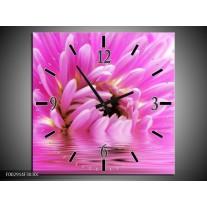Wandklok op Canvas Bloem | Kleur: Roze, Wit | F002914C