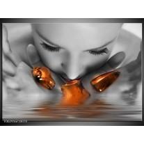 Glas schilderij Gezicht | Oranje, Grijs