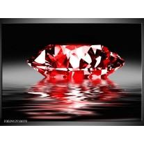 Glas schilderij Steen | Rood, Wit, Zwart