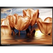 Glas schilderij Tulpen | Bruin, Geel, Blauw