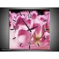 Wandklok op Canvas Tulpen | Kleur: Paars, Wit | F002923C