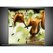 Wandklok op Canvas Tulpen | Kleur: Bruin, Groen | F002924C