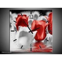 Wandklok op Canvas Tulpen | Kleur: Grijs, Rood | F002925C