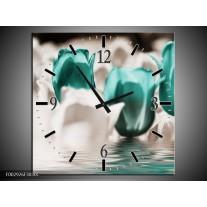 Wandklok op Canvas Tulpen | Kleur: Wit, Blauw | F002926C