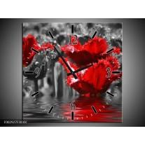 Wandklok op Canvas Tulpen | Kleur: Zwart, Rood, Grijs | F002927C