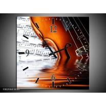 Wandklok op Canvas Instrument | Kleur: Wit, Bruin, Zwart | F002936C