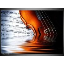 Glas schilderij Instrument | Wit, Bruin, Zwart
