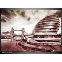Glas schilderij London | Grijs, Wit