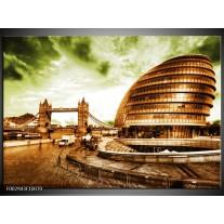 Glas schilderij London | Groen, Bruin