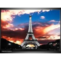 Foto canvas schilderij Parijs | Blauw, Paars, Grijs