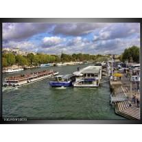 Glas schilderij Boot | Blauw, Groen, Grijs