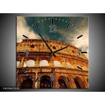 Wandklok op Canvas Rome | Kleur: Bruin, Wit, Blauw | F002966C