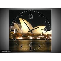 Wandklok op Canvas Sydney | Kleur: Wit, Zwart, Grijs | F002971C
