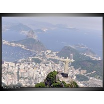Glas schilderij Brazilie | Grijs, Blauw, Wit