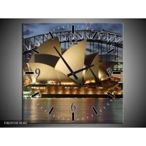 Wandklok op Canvas Sydney | Kleur: Grijs, Blauw, Wit | F002974C