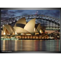 Glas schilderij Sydney | Grijs, Blauw, Wit