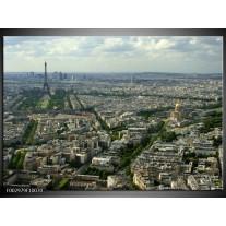 Glas schilderij Paris | Groen, Grijs