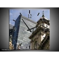 Wandklok op Canvas Kerk | Kleur: Grijs, Blauw | F002980C
