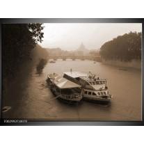 Glas schilderij Boot | Grijs, Wit